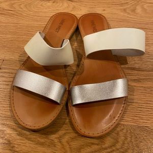 Nine West Double Strap Sandals in white and silver